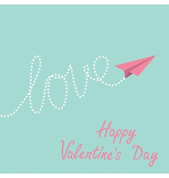 Origami paper plane sky Happy Valentines Day vector