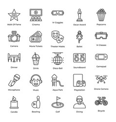 Pack entertainment line icons vector