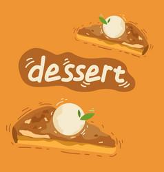 piece of apple pie with scoop of ice cream vector image