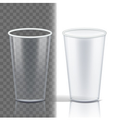 plastic cup transparent clean object vector image