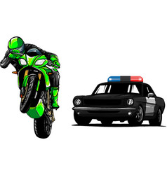 Police car is chasing a criminal on a motorcycle vector