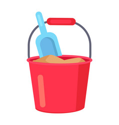 poster of bucket with sand and kids spade vector image