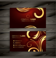 Premium luxury red business card with golden vector