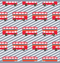 Red bus boy striped seamless pattern vector