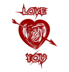 Red heart and inscription - love you vector