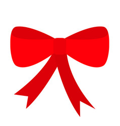 red ribbon christmas bow icon decoration element vector image