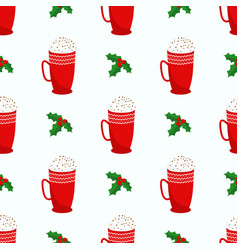 seamless christmas and new year pattern holly vector image