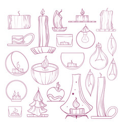 Set candles candlesticks and lamps hand-drawn vector