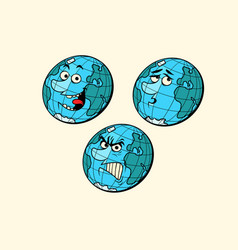 set emotions planet earth characters vector image