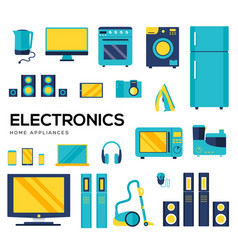 set household appliances and electronic devices vector image
