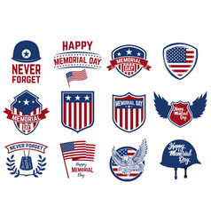 set memorial day emblems design elements vector image