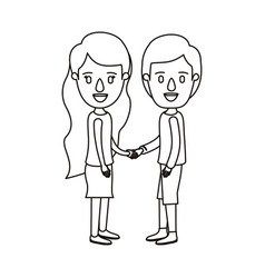 Silhouette caricature full body couple in casual vector