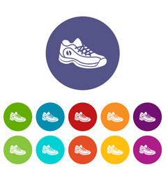 sneakers icons set color vector image