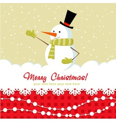 Snowman card red vector image