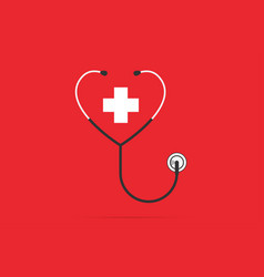 Stethoscope in the shape of a heart vector