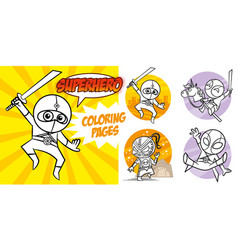 superhero coloring book comic character vector image
