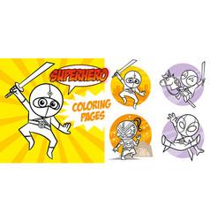 superhero coloring book comic character vector image