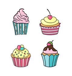 sweet cupcake set of hand drawn cupcakes doodle vector image