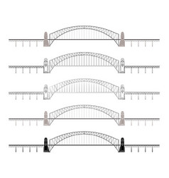 Sydney harbour bridge colored and outline only vector