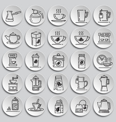 Tea and coffee outline icons set on plates vector