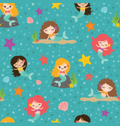 teal mermaid girls seamless pattern vector image
