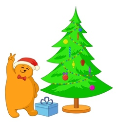 teddy bear and christmas tree vector image