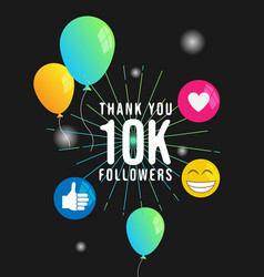 Thank you 10k followers banner template vector