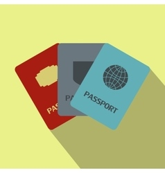 Three passports flat icon vector