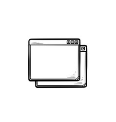 two browser windows hand drawn outline doodle icon vector image