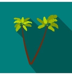 Two palm trees icon flat style vector