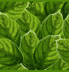 Vibrant textured green leaves with veins seamless vector