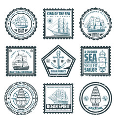 Vintage ships and vessels stamps set vector