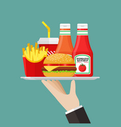 waiter serving a fast food with sauce vector image
