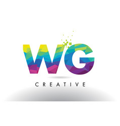 Wg w g colorful letter origami triangles design vector
