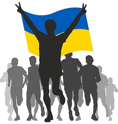 Winner with the Ukraine flag at the finish vector