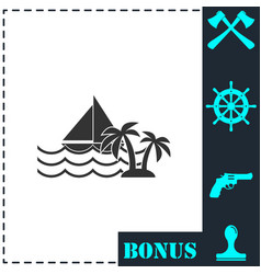 yacht icon flat vector image