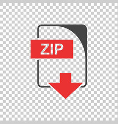 Zip icon flat vector