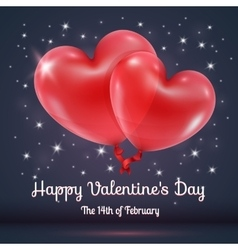 Hearts balloons with valentines day text vector