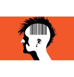Monhawk guy with barcode vector image vector image