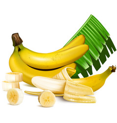 Ripe yellow bananas with slices and leaves vector image