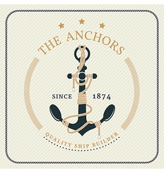 Vintage nautical anchor and tied rope label vector image vector image