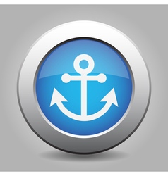 Blue metallic button White anchor icon vector image