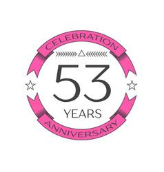 Fifty three years anniversary celebration logo vector