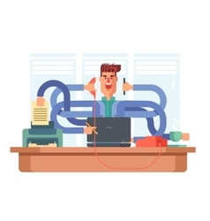 Man office worker multitasking vector image vector image