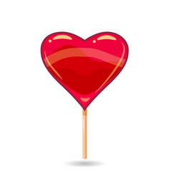 pink candy on a stick in the form of heart vector image