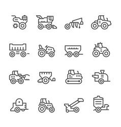 set line icons of agricultural machinery vector image vector image