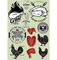 set of templates on the theme of chicken for vector image vector image