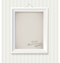 White empty frame hanging on the wall eps 10 vector image