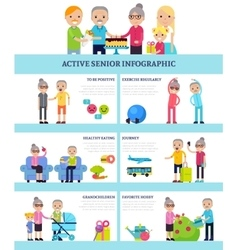 Active Senior People Flat Infographics vector image vector image