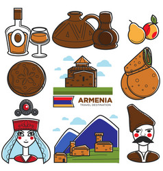 armenia tourism travel landmarks and armenian vector image vector image